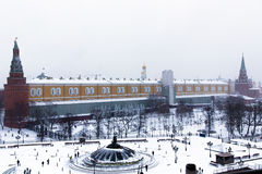 Panorama of Manege Square near the Kremlin wall Stock Image