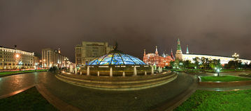 Panorama Manege Square at night, Moscow Stock Photos
