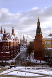 Panorama of Manege Square, State Historic Museum and cathedral of Vasiliy Beatific Stock Image