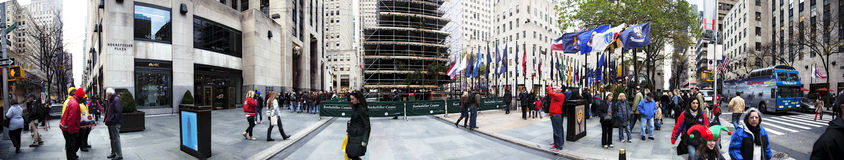 Panorama Manhattan New York NY dell'albero di Christmans della plaza di Rockefeller Immagine Stock