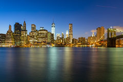 Panorama of  Manhattan by night Stock Photo