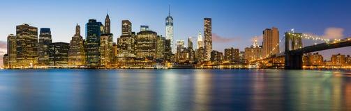 Panorama of  Manhattan by night Stock Photography