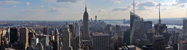 Panorama Manhattan NYC. Panorama of south of Manhattan (New York City) from the top of the rock Stock Photo