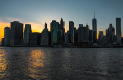 Panorama of Manhattan Skyline during sunse Stock Image