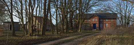 Panorama of manor house listed as monument in Jager near Greifswald, Mecklenburg-Vorpommern, Germany Stock Photo