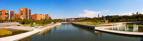 Panorama of Manzanares river in Madrid Royalty Free Stock Image