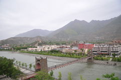 The Panorama of Mao County in Sichuan province China. Mao County or Maoxian is a county in Ngawa Prefecture, Sichuan Province, China. It has an area of 3,903 and royalty free stock photography