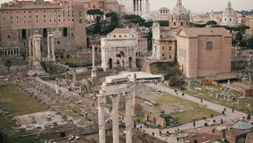 Panorama with marble Arch of Septimius Severus in Rome, Italy. The House of Vestals lies at the foot of Palatine Hill. stock footage