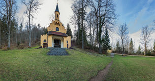 Panorama_Marienkapelle Kalvarienberg. Panoramic view of the chapel of Mary on the Calvary, which is a station of the cross path Stock Photography