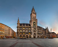 Panorama of Marienplatz and New Townhall in the Morning, Munich, Royalty Free Stock Photo