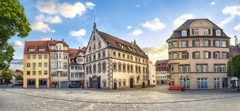 Panorama of Marienplatz square in Ravensburg, Germany. Panoramic view of old buildings on Marienplatz square on the center of Ravensburg, Baden-Wurttemberg Stock Image