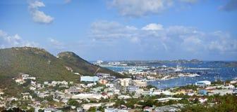 Panorama of marigot bay. Wide panorama of Marigot Bay, St Martin Royalty Free Stock Photos