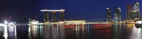 Panorama Of Marina Bay Sands,Singapore. Panorama of Singapore with the Singapore Flyer at left, Marina Bay Sands Casino in the middle, and the business center on Stock Photo