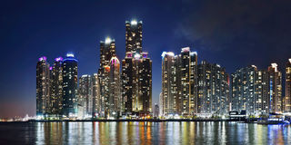 Panorama of Marina city in Busan, South Korea Royalty Free Stock Image