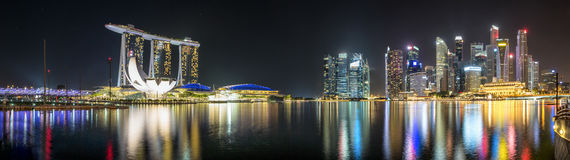 Panorama of the marina and financial district of Singapore by night stock photo