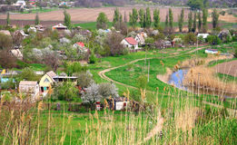 Panorama of Mariupol. Ukraine. Mariupol. Summer houses on the bank of the river Kalchik in the spring Royalty Free Stock Images
