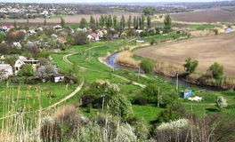 Panorama of Mariupol. Ukraine. Mariupol. Summer houses on the bank of the river Kalchik in the spring Royalty Free Stock Photo