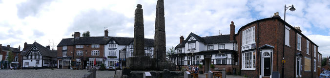 Panorama of the Market Square in the Picturesque Town of Sandbach in South Cheshire England Stock Images