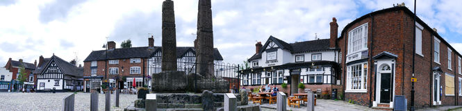 Panorama of the Market Square in the Picturesque Town of Sandbach in South Cheshire England Royalty Free Stock Image