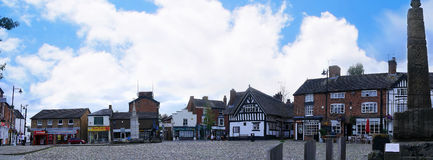 Panorama of the Market Square in the Picturesque Town of Sandbach in South Cheshire England Royalty Free Stock Photography
