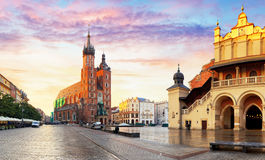 Panorama Market Square at sunrise in Krakow, Poland Royalty Free Stock Photography