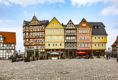 Panorama Marketplace Hessenpark, an open air museum with old hal. NEU ANSPACH, GERMANY - MAR 27, 2011: market place at Hessenpark in Neu Anspach. Since 1974, ca Royalty Free Stock Photos