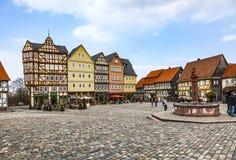 Panorama-Markt Hessenpark, ein Freilichtmuseum mit altem hal Stockbilder
