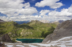 Panorama from Marmolada glacier Royalty Free Stock Photo
