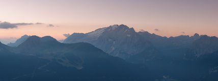 Panorama of Marmolada mountains ridge at sunrise Royalty Free Stock Image