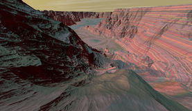 Panorama of Mars box canyon Royalty Free Stock Image