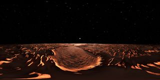 360 Panorama of Mars-like Exoplanet sunset, environment map. Equirectangular projection, spherical panorama. 3d illustration Stock Images
