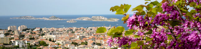 Panorama of Marseille city in south of France. Panorama view of Marseille city in south of France Stock Photo