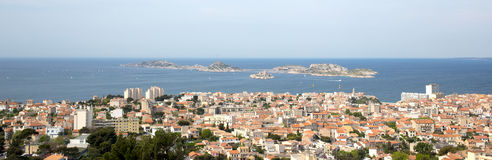 Panorama of Marseille city in south of France. Panorama view of Marseille city in south of France Stock Photography