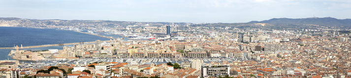 Panorama of Marseille city in south of France. Panorama view of Marseille city in south of France Royalty Free Stock Photography