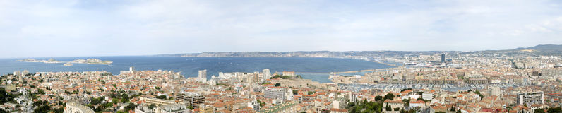 Panorama of Marseille city in south of France. Panorama view of Marseille city in south of France Stock Photos