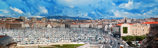 Panorama Marseille-, Frankreich, berühmter Hafen. Stockbild