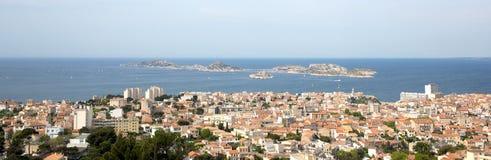 Panorama Marseille miasto w południe Francja Fotografia Stock