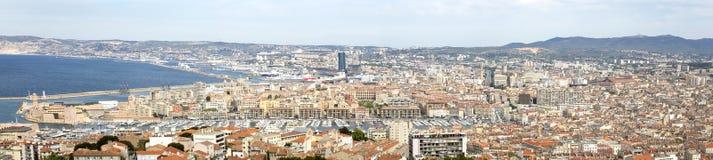 Panorama Marseille miasto w południe Francja Fotografia Royalty Free