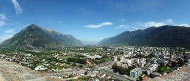 Panorama Martigny, Zwitserland Stock Foto