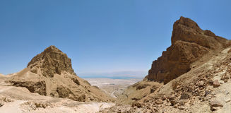 Panorama of Masada wadi. Stock Image