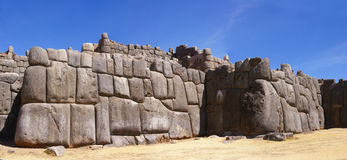 Panorama - Massive stones in Inca fortress walls Royalty Free Stock Image