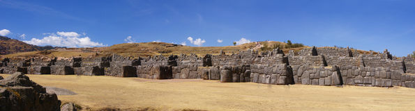 Panorama - Massive stones in Inca fortress walls Stock Photography