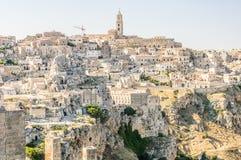 Panorama of Matera rocks. A beautiful panorama view of Matera Rocks in Basilicata, south Italy Royalty Free Stock Photography