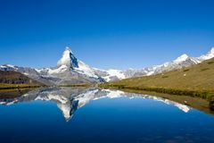 Panorama of the Matterhorn. Panorama of the famous Matterhorn in the swiss alps Stock Image