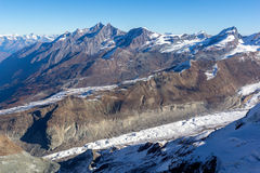 Panorama from matterhorn glacier paradise to Zermatt, Alps, Switzerland Royalty Free Stock Image