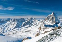 Panorama Matterhorn lodowiec zdjęcie royalty free