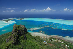 Panorama of Maupiti Island from the peak, French Plynesia Stock Image