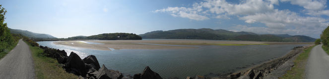 Panorama of the Mawdach Trail running alongside the estuary Royalty Free Stock Photos
