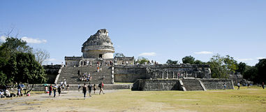 Maya Observatory at Chichen Itza. Panorama of Maya Observatory at Chichen Itza Stock Photo