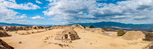 Panorama of the Mayan ruins at Monte Alban in Oaxa Stock Photo